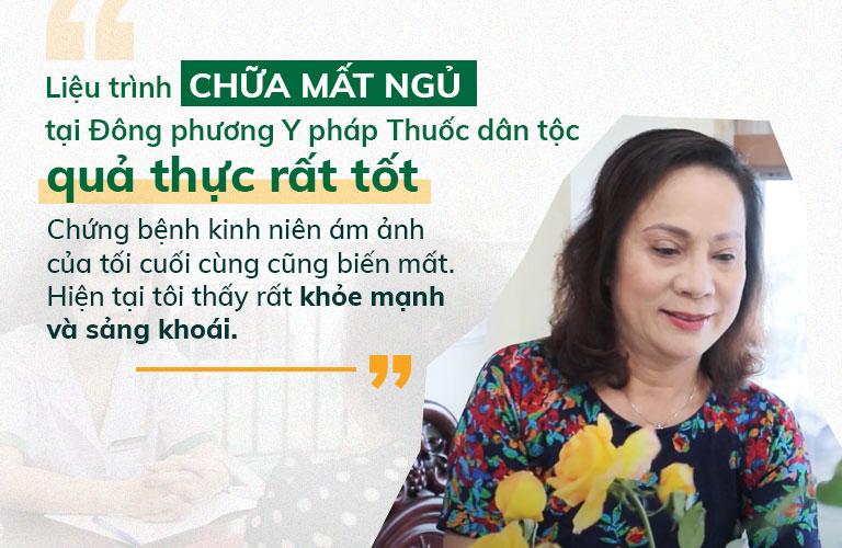 Nghệ sĩ Hương Dung đánh giá tích cực về hiệu quả trị liệu bệnh mất ngủ tại Đông phương Y pháp