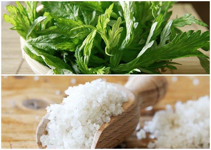 Ngải cứu và muối đem rang cùng với nhau có thể tạo thành hỗn hợp đắp ngoài để giảm đau